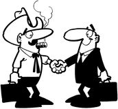 Businessmen shaking hands cartoon Vector Clipart Stock Photo