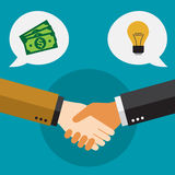 Businessmen shaking hands and closing deal. Ideas and money are partnership. A cartoon businessmen shaking hands and closing deal Royalty Free Stock Photo