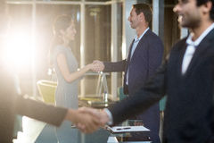 Businessmen shaking hands with colleagues Royalty Free Stock Photo