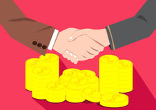 Businessmen shaking hands deal of money. Money People Make Money Deal.Businessmen Shaking Hands Vector Flat design on Pink background Stock Photos