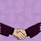 Illustration of Two Businessmen Shaking Hands Firmly as Gesture Form of Greeting, Welcoming, Closed Deal or Agreement vector illustration