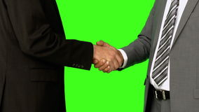 Businessmen shaking hands. On green screen background stock footage