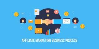 Businessmen Shaking Hands, Partnership, Business Affiliate Marketing, Concept. Flat Design Vector Banner. Royalty Free Stock Photo