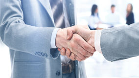 Businessmen shaking hands after signing a lucrative financial co Royalty Free Stock Photography