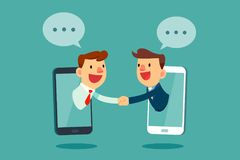 Businessmen shaking hands through smart phone screen. Business communication and technology concept stock illustration