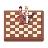 Businessmen shaking hands standing on chess board. Businessmen firmly shaking hands standing on giant chess board. Business metaphor of starting a new venture Royalty Free Stock Photo