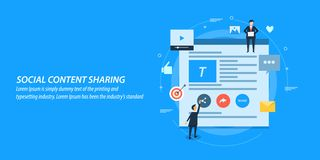 Flat design concept of social content sharing, social media, content marketing. Businessmen sharing branded content on social media for target audience. Flat royalty free illustration