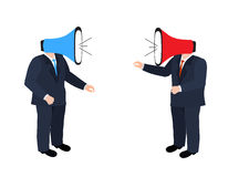 Businessmen shouting through megaphone Royalty Free Stock Images