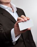 Businessmen show visit card Royalty Free Stock Photo