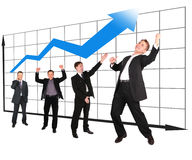 Businessmen showing growth-share matrix collage stock photography