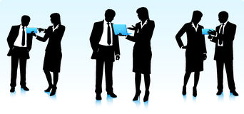 Businessmen silhouettes with computers Royalty Free Stock Photos