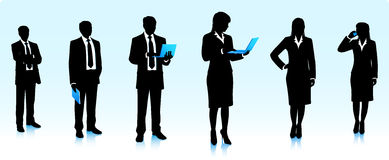 Businessmen silhouettes with computers Stock Photo