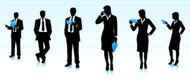 Businessmen silhouettes with gadgets Stock Image