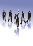 Businessmen siluettes. Five businessmen siluettes in vector Royalty Free Stock Photos