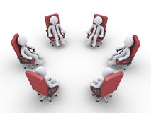 Businessmen sitting on chairs form a circle Royalty Free Stock Photos