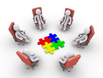 Businessmen sitting on chairs and puzzle pieces. 3d businessmen sitting on armchairs and four puzzle pieces in the middle Royalty Free Stock Images