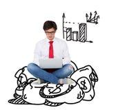Businessmen sitting on money Royalty Free Stock Image