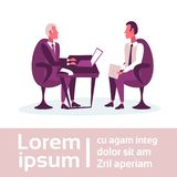 Businessmen sitting workplace business interview concept boss employer employee communication report using laptop. Holding envelope brainstorming copy space royalty free illustration
