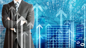 Businessmen with skyscrapers, graphs and arrows Royalty Free Stock Photos