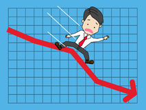 Businessmen are slipping graphs falling on down. royalty free illustration