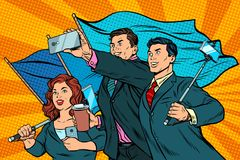 Businessmen with smartphones and flags, poster socialist realism. Pop art retro vector illustration Royalty Free Stock Images