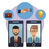 Businessmen on smartphones. Businessmen talking smartphones with business round icon vector illustration graphic design stock illustration