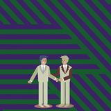 Businessmen Smiling, Standing and Handshaking. Two Men in Suit Greeting Each Other in Hand Holding Gesture. Creative. Two Businessmen Standing, Smiling and stock illustration