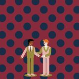 Businessmen Smiling, Standing and Handshaking. Two Men in Suit Greeting Each Other in Hand Holding Gesture. Creative. Two Businessmen Standing, Smiling and vector illustration