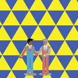 Businessmen Smiling, Standing and Handshaking. Two Men in Suit Greeting Each Other in Hand Holding Gesture. Creative stock illustration