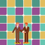 Businessmen Smiling, Standing and Handshaking. Two Men in Suit Greeting Each Other in Hand Holding Gesture. Creative vector illustration