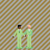 Businessmen Smiling, Standing and Handshaking. Two Men in Suit Greeting Each Other in Hand Holding Gesture. Creative. Two Businessmen Standing, Smiling and royalty free illustration