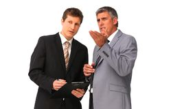 Businessmen speaking about a project. Against a white background stock video footage