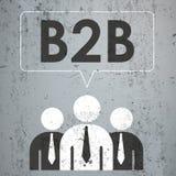 3 Businessmen Speech Bubble Concrete b2b. 3 businessmen with speech bubble and text B2B on the concrete Stock Photos