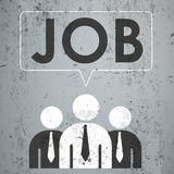 3 Businessmen Speech Bubble Concrete Job. 3 businessmen with speech bubble and text Job on the concrete Stock Photography