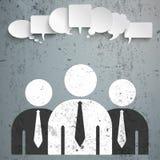 3 Businessmen Speech Bubbles Concrete Royalty Free Stock Photo
