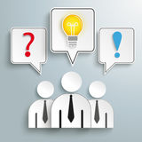 3 Businessmen Speech Bubbles Question Bulb Answer Stock Photography