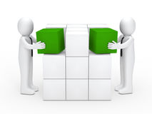 Businessmen stack green cubes Royalty Free Stock Image