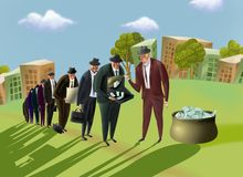 Businessmen stand in a queue for money. Royalty Free Stock Photo