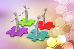 Businessmen are standing on different colored puzzle pieces. In color background Stock Photos