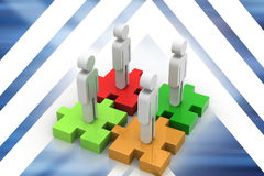 Businessmen are standing on different colored puzzle pieces. In color background Royalty Free Stock Photos