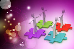 Businessmen are standing on different colored puzzle pieces. In color background Stock Photo
