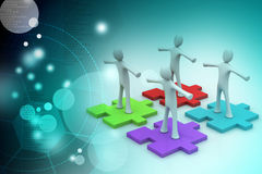 Businessmen are standing on different colored puzzle pieces. In color background Royalty Free Stock Images