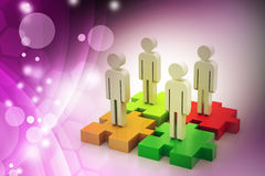 Businessmen are standing on different colored puzzle pieces. In color background Stock Image
