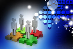 Businessmen are standing on different colored puzzle pieces Stock Images