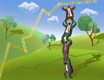 Businessmen standing on each other. Shoulders to construct stepladder. Good concept for teamwork stock illustration