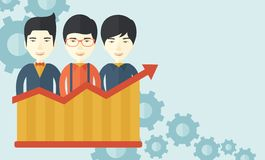 Businessmen standing infront of growing graph. A happy chinese businessmen standing infront of growing graph with gears at their back. Successful business Royalty Free Stock Photos