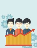 Businessmen standing infront of growing graph. A happy chinese businessmen standing infront of growing graph with gears at their back. Successful business Royalty Free Stock Photo