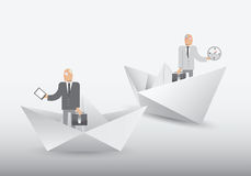 Businessmen standing in origami shapes Royalty Free Stock Images