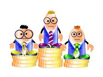 Businessmen standing on a pedestal of coins. Illustration of funny team standing on a pedestal of coins. Isolated Stock Photos