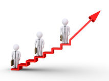 Businessmen standing on stairs of success. 3d businessmen standing on different heights of graphic chart with stairs Royalty Free Stock Image